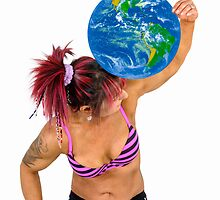 Female Atlas holds the world on her shoulder  by PhotoStock-Isra