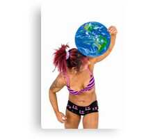 Female Atlas holds the world on her shoulder  Canvas Print