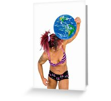 Female Atlas holds the world on her shoulder  Greeting Card