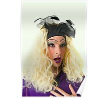 excited Drag Queen with blond wig Poster