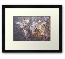 World Map on Stone Background Framed Print