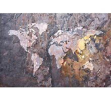 World Map on Stone Background Photographic Print