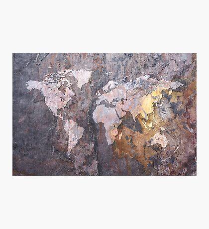 World Map on Stone Background Photographic Print
