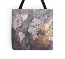 World Map on Stone Background Tote Bag