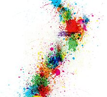 New Zealand Paint Splashes Map by Michael Tompsett