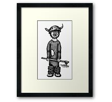 Funny viking black and white pen ink drawing Framed Print