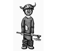Funny viking black and white pen ink drawing Photographic Print