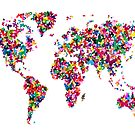 Butterflies Map of the World by ArtPrints