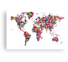 Butterflies Map of the World Canvas Print