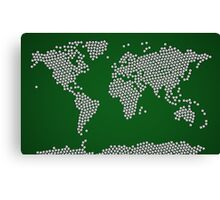 Football Soccer Balls World Map Canvas Print