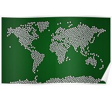 Football Soccer Balls World Map Poster