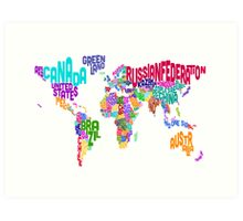 Typographic Text Map of the World Art Print