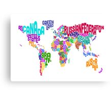 Typographic Text Map of the World Canvas Print