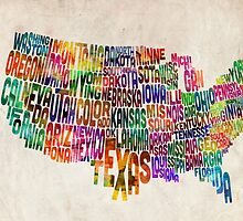 United States Text Map by ArtPrints