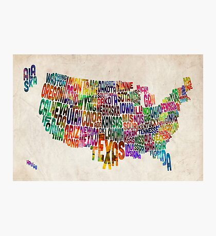 United States Text Map Photographic Print