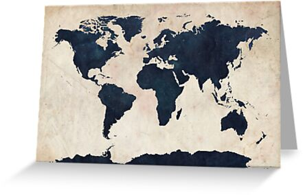 World Map Distressed Navy by Michael Tompsett