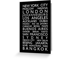 World Cities Bus Roll Greeting Card