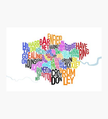 London UK Text Map Photographic Print
