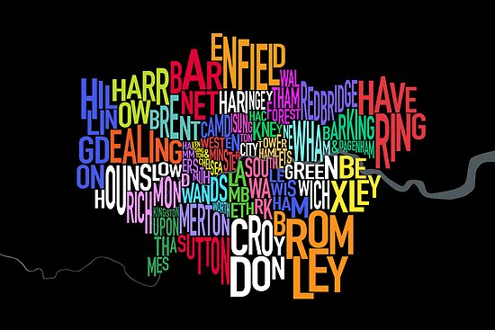 London UK Text Map by ArtPrints