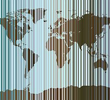 World Map Abstract Barcode by ArtPrints