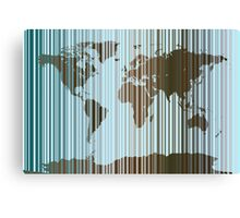 World Map Abstract Barcode Canvas Print