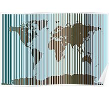 World Map Abstract Barcode Poster