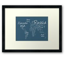 Writing Text Map of the World Map Framed Print