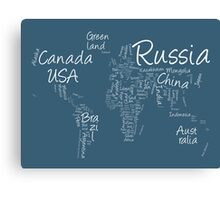 Writing Text Map of the World Map Canvas Print
