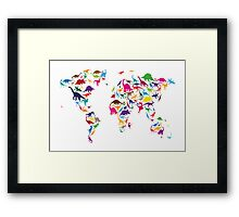 Dinosaur Map of the World Map Framed Print