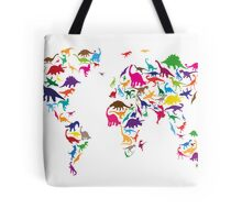 Dinosaur Map of the World Map Tote Bag