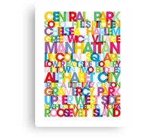 Manhattan Boroughs Bus Blind Canvas Print