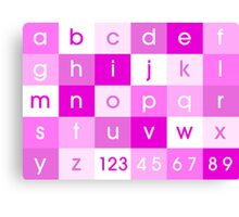 Alphabet Pink Canvas Print