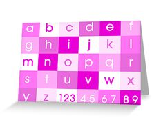 Alphabet Pink Greeting Card