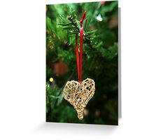 Golden heart ornament hanging Greeting Card