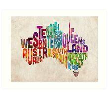 Australia Typographic Text Map Art Print