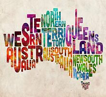 Australia Typographic Text Map by Michael Tompsett