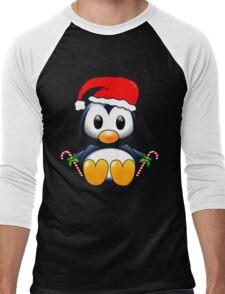 Cute Cartoon Christmas Penguin Men's Baseball ¾ T-Shirt