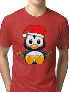 Cute Cartoon Christmas Penguin Tri-blend T-Shirt