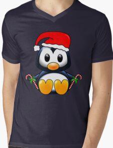 Cute Cartoon Christmas Penguin Mens V-Neck T-Shirt