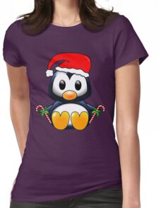 Cute Cartoon Christmas Penguin Womens Fitted T-Shirt