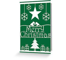 Christmas Tree and Robins Green and White Paper Cut Art Design Greeting Card