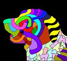 Abstract bright colorful dog  by Yasprints