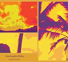 Kauluwela Moku Poster Tropical Island Color Graphic Art by Kenneth Grzesik