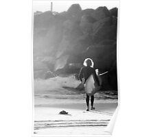 Retro Surfer- B&W Poster