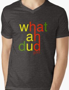 WHATAHDUD Mens V-Neck T-Shirt
