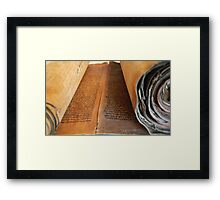Ancient handwritten Torah scrolls from Yemen  Framed Print