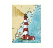 Assateague Lighthouse VA Nautical Chart Cathy Peek Art Print