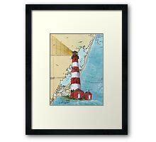 Assateague Lighthouse VA Nautical Chart Cathy Peek Framed Print