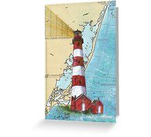 Assateague Lighthouse VA Nautical Chart Cathy Peek Greeting Card
