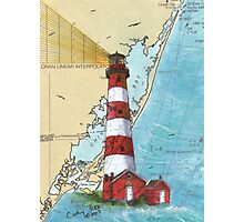 Assateague Lighthouse VA Nautical Chart Cathy Peek Photographic Print